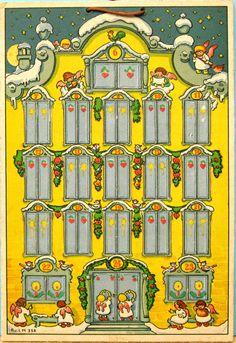 Advent calendar, ca. 1930 - Christkindleins Haus, Reichhold und Lang, Munich.