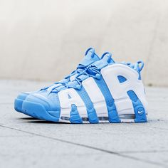 Nike Air More Uptempo '96 in UNC colorway is a sight to behold. More Air. More Style. Now available at KICKZ.com