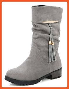 a5978dd9d IDIFU Women s Casual Tassels Low Heels Chunky Round Toe Slouchy Mid Calf  Boots Gray 7 B
