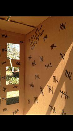 Inside details of cardboard jail