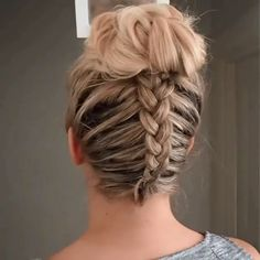 Dutch braid into messy bun Ponytail Hairstyles BRAID Bun dutch messy Braided Ponytail Hairstyles, Easy Hairstyles For Long Hair, Braids For Long Hair, Up Hairstyles, Summer Hairstyles, Medium Hair Styles, Curly Hair Styles, Hair Upstyles, Hair Looks