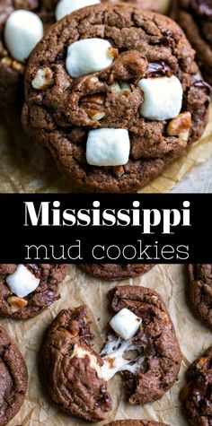 Mississippi Mud Cookies Rich chocolate cookies filled with chocolate chunks and pecans and topped with marshmallows. Crinkle Cookies, Brownie Cookies, Chocolate Chip Marshmallow Cookies, Chewy Chocolate Cookies, Marshmallow Brownies, Smores Dessert, Whoopie Pies, Cookie Exchange, Mississippi Mud Cookies Recipe