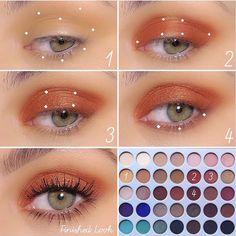 Idée Maquillage 2018 / 2019 : Orange halo eyelook Morphe Brushes X Jackie Hill Original Palette - Flashmode Belgium Makeup Eye Looks, Eye Makeup Steps, Makeup For Green Eyes, Natural Eye Makeup, Cute Makeup, Smokey Eye Makeup, Eyeshadow Looks, Gorgeous Makeup, Eyeshadow Makeup