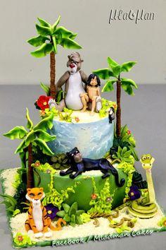 The jungle book cake Jungle Birthday Cakes, Jungle Cake, Safari Baby Shower Cake, Baby Shower Cakes, Mogli Jungle Book, Fancy Cakes, Cute Cakes, Jungle Book Party, Jungle Theme