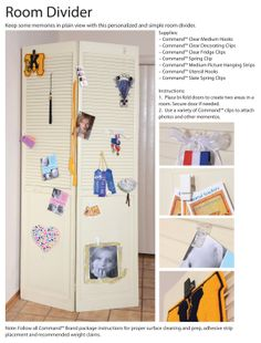 Perfect for shared kid's bedroom spaces - personalize each side of a room divider using removable Command™ Hooks and Clips!