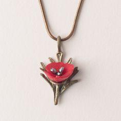 Red Poppy Pendant by Michael Michaud