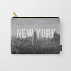 Black & white New York City skyline - carry all pouch. A multi use bag, for your wallet, stationary, or make up. Accessory bag. Monotone, grey tone, black and white. Typographical artwork.
