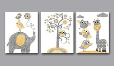 Baby Boy Nursery art print Children Wall Art Baby Room Decor Kids Print set of 3 8 x 10 elephant giraffe owls birds tree grey yellow via Etsy