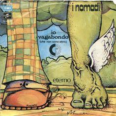 """Augusto Daolio 1972 I Nomadi - Io Vagabondo (Che Non Sono Altro) / Eterno (7"""") [Columbia 3C006-17817] #albumcover #fantasy #Prog-Rock"""