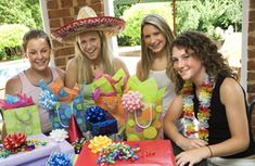 % party games for tween girls: Pass the bag, Eat the doughnut, Toilet paper fashion show, red robin story & scavenger hunt