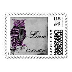 Purple Gothic Owl Posh Postage Stamp