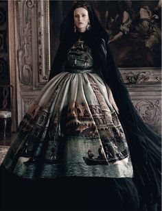 Karen Elson by Craig McDean for Vogue Italy (Italia) September 2013. Dress by Dolce & Gabbana Alta Moda