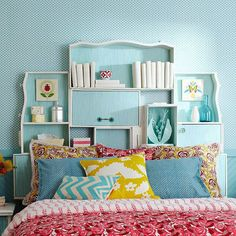 Re-purposed drawers for headboard