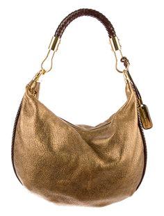 gold and brown leather shoulder bag