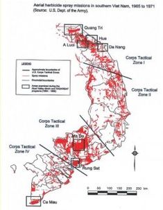 Agent Orange Map showing locations of U. army aerial herbicide spray missions in South Vietnam taking place from 1965 to Vietnam War Photos, South Vietnam, Vietnam Veterans, Va Benefits, Vietnam History, Warfare, Workout Programs, Orange, Historia