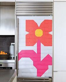 Fridge Flower Mosaic--Martha Stewart--Have kids do a pixellation project, make post-it pixel designs in the windows