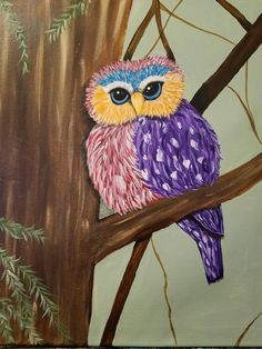 Alisha- Spring Owl Owl Artwork, Paint And Sip, Painting Studio, Colorful Owl, Cocktails, Paintings, Bird, Pretty, Artist