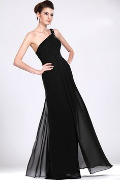 Sleeveless Mid Back Crystal Sheath Thin Elegant & Luxurious Black Spring Chiffon Prom/ Evening Dress