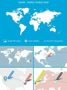 Premium Shapes - Simple World Map ($5+) Infographic, Shapes, Templates, Map, World, Simple, Infographics, Stencils, Location Map