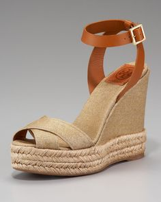 32f26810844b Tory Burch - Brown Metallic Crisscross Espadrille Sandal - Lyst