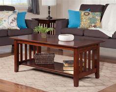 Mission Craftsman Walnut Solid Wood 3pc Coffee Table Set