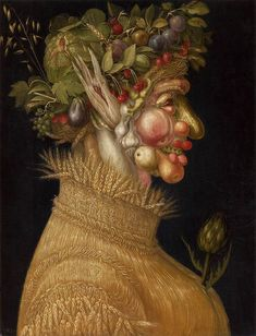 Giuseppe Arcimboldo. Summer. c.1563. Oil on panel, 67 x 51 cm. Kunsthistorisches Museum, Vienna, Austria                                           Creativity is the theme of this Conversation Art Card. Arcimboldo certainly was creative painting a symbol of summer using the produce of that season. In what ways are you creative? How does creativity help us to solve our problems?