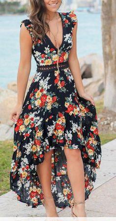 Summer Sexy V-Neck Sleeveless Floral Print Irregular Long Dress Dress Outfits, Casual Dresses, Fashion Dresses, Summer Dresses, Low Cut Dresses, Summer Maxi, Dress Clothes, Floral Dresses, Floral Maxi