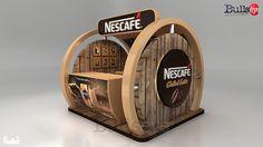 Nescafe Chilled Latte Booth on Behance Más Kiosk Design, Display Design, Cafe Design, Retail Design, Store Design, Exhibition Stall, Exhibition Stand Design, Exhibition Display, Cafe Shop