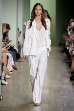 Tibi Spring 2016: A relaxed sporty jacket, top, and wide leg trousers.