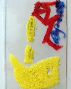 Size does(n't) really matter 201 Monotype matrix   6 x 9 cm   Oil pastel on polypropylene