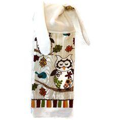 Owl Dish Towel Kitchen Hand Towel Towel with Ties by SuesAkornShop