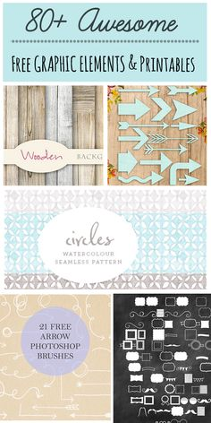 80+ Free modern Printables, fonts, patterns and  other cool Graphic Elements to Download  {cute way to share a favorite pinterest board}