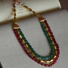 Gold Jewellery Design, Bead Jewellery, Beaded Jewelry, Jewelery, Beaded Necklace, Chevron Necklace, Amethyst Necklace, Terracotta Jewellery, Gold Jewelry Simple