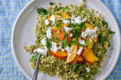 Green Rice Salad with Nectarines and Corn :: Little Miss is into corn, the stone fruit is smelling awesome, and we have carrot tops for pesto.
