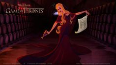 Game of Thrones reimagined as a Disney movie : Cersei Lannister (by Anderson Mahanski & Fernando Mendonça) Cersei Lannister, Jaime Lannister, Daenerys Targaryen, Game Of Thrones Disney, Game Of Thrones Art, Game Of Thrones Characters, Walt Disney, Disney Games, Disney Animation