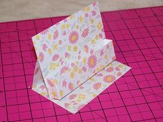 Tutorial for Business Card Holder Supplies Needed: glue small buttons cardstock or pattern cardstock x-acto knife paper trimmer pape. Business Card Displays, Business Card Holders, Business Cards, Envelopes, Craft Fair Displays, Display Ideas, Easel Cards, Craft Show Ideas, Card Tutorials