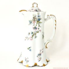 Antique #French #Haviland #Limoges Lavender & Blue Clematis #Chocolate Pot
