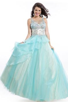 Party Time Prom - 6447  $458.00 Scoop neck jeweled bodice. With full organza princess skirt. The fabric in this style is Soft Tulle/Organza http://www.reflectionsbridalandprom.com/detail.php?ProdId=7455929&CatId=70514&resPos=52#subtitle