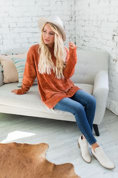 We are absolutely loving our new Elli Boyfriend Sweater and we know you will too! Available in multiple trendy color options, you can't help but fall in love with the cozy oversized feel, soft velvety knitted sweater texture, and flattering fit! Boyfriend Sweater, Trendy Colors, Pumpkin Spice, Tunic Tops, Cozy, Plus Size, Texture, Boutique, Nice