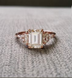"""Antique Moissanite and Diamond Engagement Ring Emerald Cut Baguette Flower Classic Rose Gold timeless PenelliBelle Exclusive """"The Margo"""" by PenelliBelle on Etsy https://www.etsy.com/listing/506806588/antique-moissanite-and-diamond"""