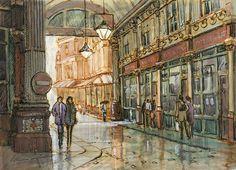 leaden hall market, london, city, pen and wash Pen Sketch, Sketches, Rob Adams, Pen And Wash, Building Art, Watercolor, London City, Architecture, Drawings