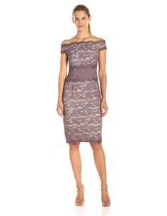 Adrianna Papell Women's Off the Shoulder Color Block Scroll Lace Dress