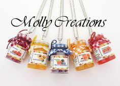 Necklace with faux jam jar in Fimo liquid by MollyCreation on Etsy