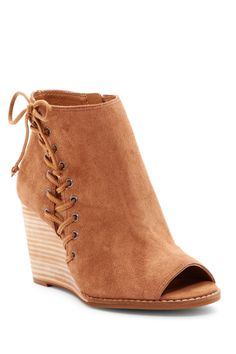 80e263db24e Love the lace-up detail on these Lucky Brand Jaevin Peep Toe Wedge Booties