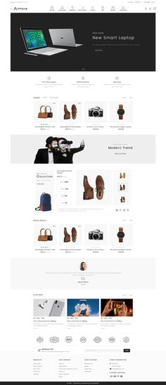 Antona - The Fashion Store Template is a good choice for selling Website Design Inspiration, Website Design Layout, Web Layout, Design Ideas, Ecommerce Template, Ecommerce Website Design, Photoshop, Best Templates, Website Themes