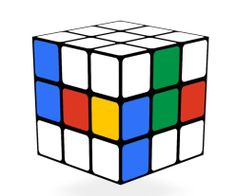 Piet Mondrian would have liked this image by the Google designers for Rubik and his De Stijlian cube