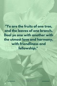 """Ye are the fruits of one tree, and the leaves of one branch. Deal ..."