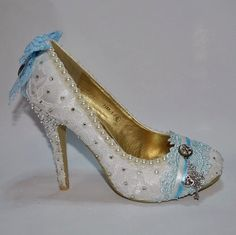 Alice in Wonderland Inspired Lace Wedding Bridal Shoes Heels