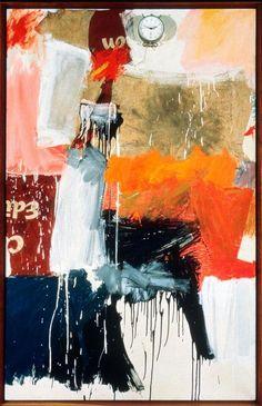 Robert Rauschenberg, Second Time Painting, 1961, olieverf, papier, stof, en poster met doek met wekker, 167,3 x 106,7 x 5,7 cm