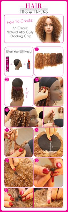Create Your Own Ombre/Curly Stocking Cap Weave :http://www.outretalks.com/an-ombrecurly-stocking-cap-weave/